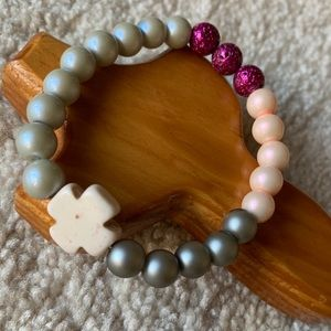 Handmade Pink and Gray Bracelet with Cross